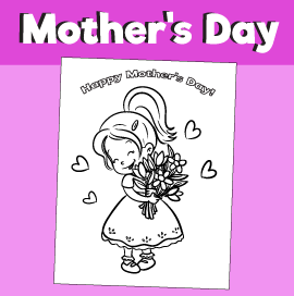 Coloring page for Mother's Day - Girl Holding Flowers