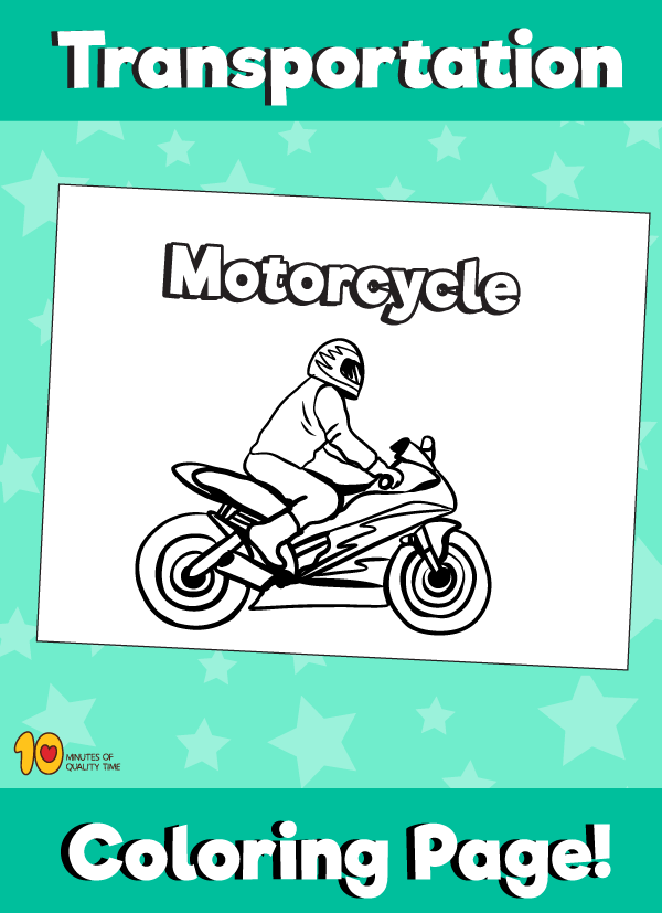 Motorcycle Coloring Page - Transportation Coloring Pages