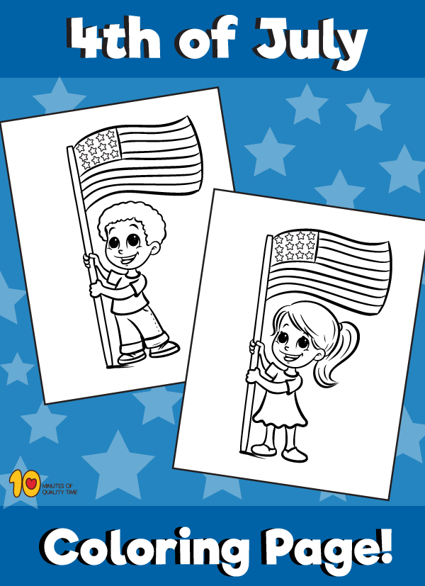 4th of July Coloring Page - Kids Holding Flag