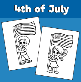 4th of July Coloring Page Kids Holding Flag