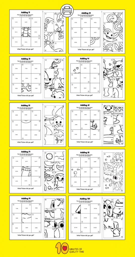 Addition 1 10 Puzzle Worksheets 10 Minutes Of Quality Time