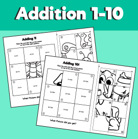 Addition 1-10 Puzzle Worksheets
