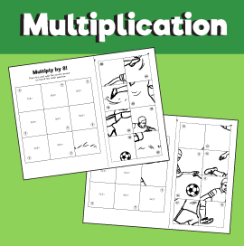 Soccer Multiplication Puzzles