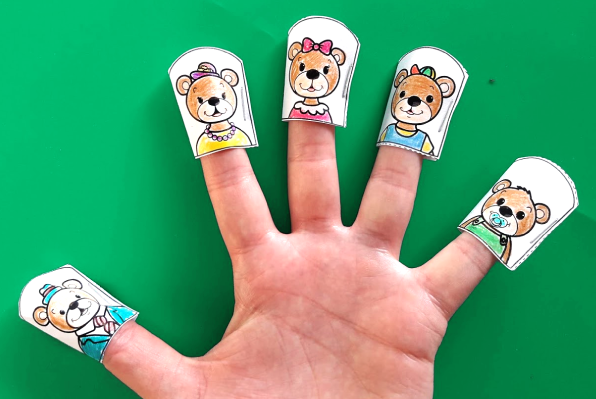 Teddy Bear Finger Family - Printable Finger Puppets