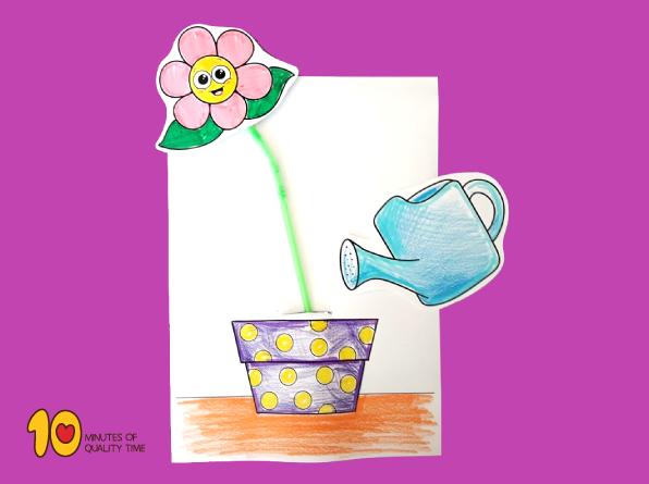 Kids watering flowers