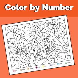 color by number printables summer