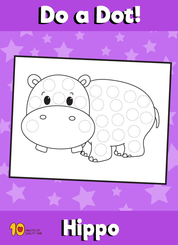 Dot Activity Animals - Hippo
