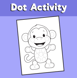 Dot Activity Animals - MonkeyDot Activity Animals - Monkey