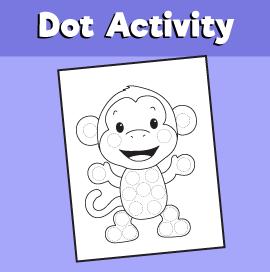 Dot Activity Animals - MonkeyDot Activity Animals - Monkey