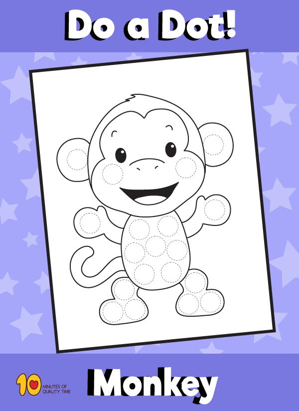 Dot Activity Animals - Monkey
