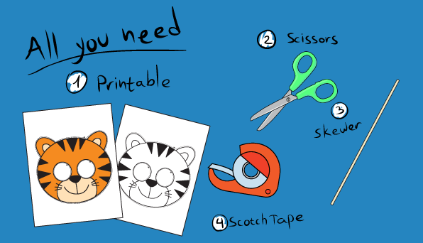 Tiger Paper Mask Template – 10 Minutes of Quality Time