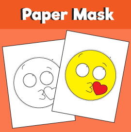 Kiss Emoji Printable Mask Template