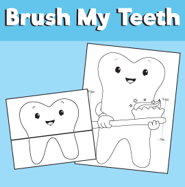 tooth and toothbrush coloring page