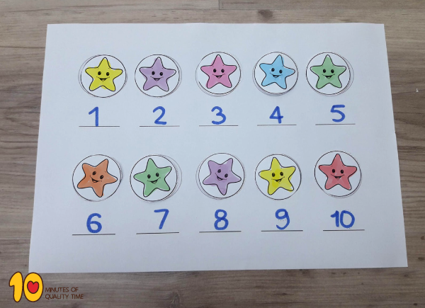 Math-for-Preschool--Counting-Stars-1-10‏-----