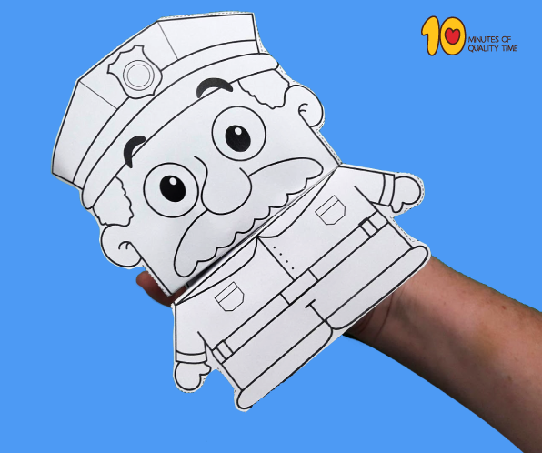 Policeman Hand Puppet  U2013 Paper Craft  U2013 10 Minutes Of Quality Time
