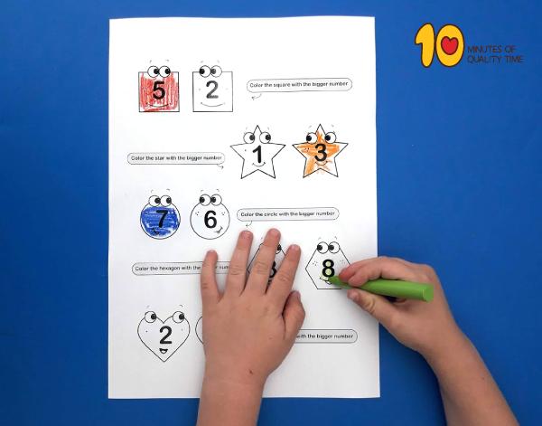Lesson plans for kindergarten - number comparison