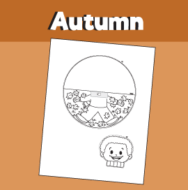 Fall Printable Craft - Boy Playing in Autumn Leaves