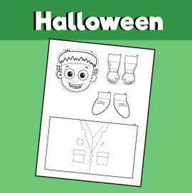 Frankenstein Toilet Roll Puppet Template