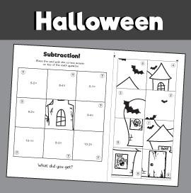 Haunted House Basic Subtraction Puzzle - Subtraction Within 10