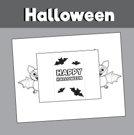 Printable Bat Card for Halloween