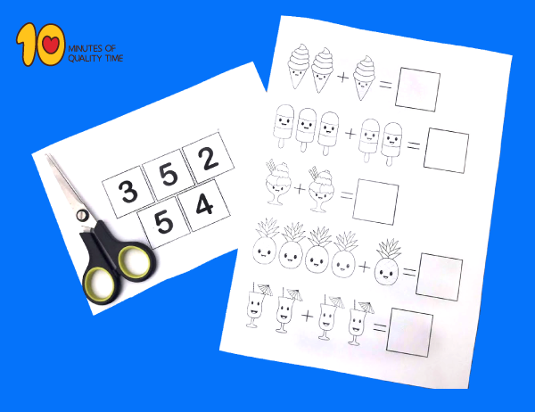 Simple-Addition printable for kindergarten