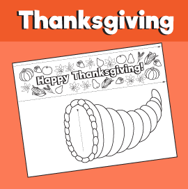 Cornucopia Printable Craft - Happy Thanksgiving