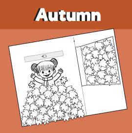 Fall Printable Craft - Girl Playing in a Leaf Pile