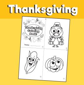 Printable Mini Thanksgiving Coloring Book