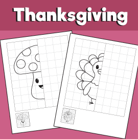 Thanksgiving Symmetry Worksheets