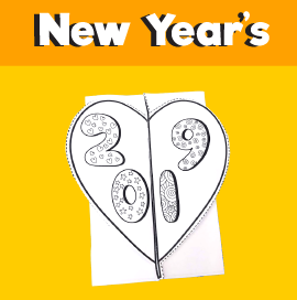 2019 new year's folding card