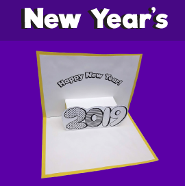 2019 New Year's Printable Pop Up Card