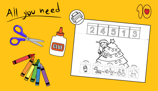 Christmas Presents Counting 1-5 Printable