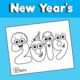 New years 2019 coloring page
