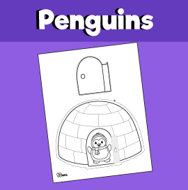 Penguin in Igloo With Opening Door
