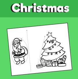 Santa Hiding Behind Tree Printable Craft