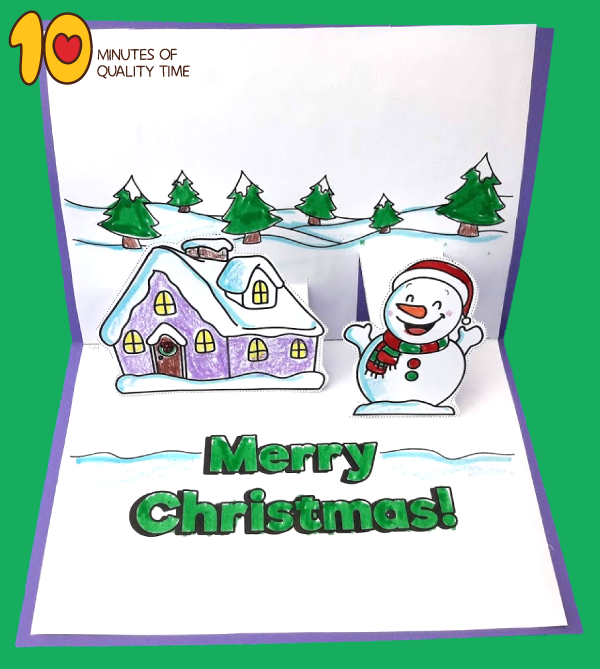 snowy christmas pop up cards printable
