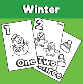Winter Themed Coloring Worksheets Numbers 1-10