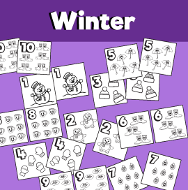 Winter Themed Printable Memory Game Numbers 1-10