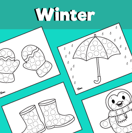 10 Winter Dot Art Printables