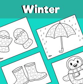 10 Winter Dot Art Printables