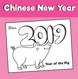 Year of the Pig Chinese New Year Coloring Page