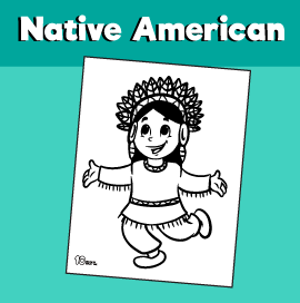 Coloring Sheet Native American