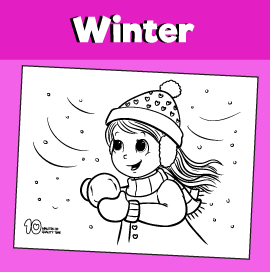 Girl in the Snow Coloring Page