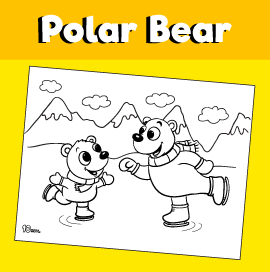 Ice Skating Polar Bears Coloring Page