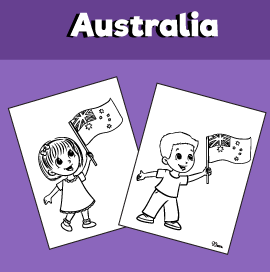 Kids Holding an Australian Flag Coloring Page