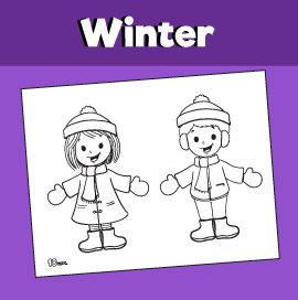 Kids in the Winter Coloring Page