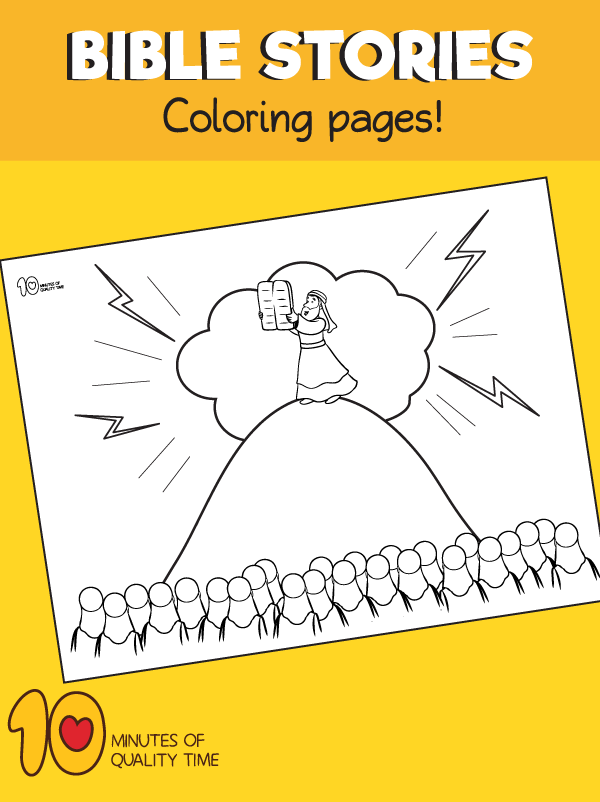 Moses and the Ten Commandment-Coloring-Page