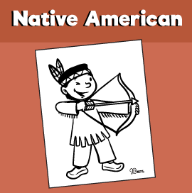 Native American Boy With Bow and Arrow Coloring Page
