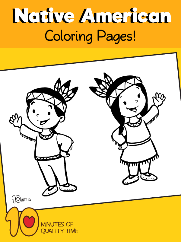 Native American Children Coloring Page – 10 Minutes of Quality Time