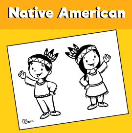 Native American Children Coloring Page